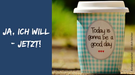 Kaffeebecher mit Schriftzug Ja ich will - jetzt!